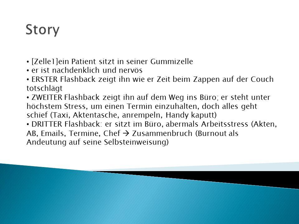 Story [Zelle1]ein Patient sitzt in seiner Gummizelle